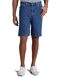 cheap -men's 9 1/2 inch inseam relaxed fit carpenter short, stone washed indigo blue, 32