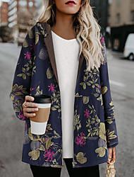 cheap -Women's Padded Parka Plus Size Floral Wool Blend White / Blue / Orange S / M / L / Loose