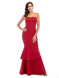 cheap -Women's Trumpet / Mermaid Dress Maxi long Dress - Sleeveless Solid Color Ruffle Summer Strapless Sexy Party Slim 2020 Black Blue Red S M L XL XXL