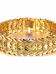 cheap -men's 18k gold plated link bracelet classic carving wrist chain link bangle width