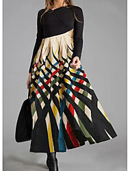 cheap -Women's Shift Dress Maxi long Dress - Long Sleeve Color Block Print Fall Winter Casual 2020 Rainbow M L XL XXL 3XL