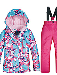cheap -MUTUSNOW Girls' Ski Jacket with Bib Pants Thermal Warm Waterproof Windproof Breathable Autumn / Fall Clothing Suit for Skiing Hiking Snowboarding Winter Sports / Space Cotton / Kids / Fashion