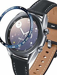 cheap -bezel ring compatible with samsung galaxy watch 3 45mm, stainless steel bezel cover protector adhesive styling scratch protection case (blue, 45mm)