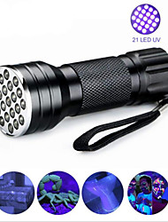 cheap -Black Light Flashlights / Torch Waterproof LED 5mm Lamp 21 Emitters 1 Mode Waterproof Ultraviolet Light Camping / Hiking / Caving Everyday Use Hunting Blue / Aluminum Alloy