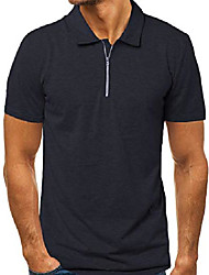 cheap -men's polo shirt zip slim fit zipper cotton short sleeve t shirts casual tee tops navy xl