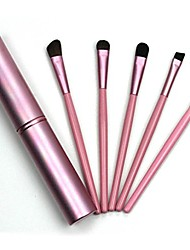 cheap -eye eyeshadow brus, 5pcs professional makeup eye eyeshadow brush brushes cosmetic set+round tube for eye shadow (about 15.5cm, pink)