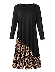 cheap -midi dress for women plus size long sleeve leopard print chiffon swing loose casual maxi dresses with pocket, black 3x