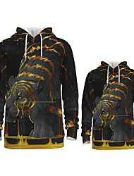 cheap -Daddy and Me Active Tiger Graphic 3D Print Animal Print Long Sleeve Regular Hoodie & Sweatshirt Gold