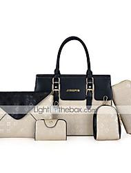 cheap -Women's Bags PU Leather Bag Set 5 Pieces Purse Set Office & Career Bag Sets Handbags White Black Blue Khaki