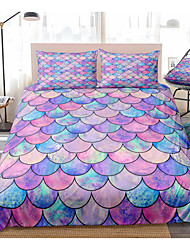 cheap -Purple Scale Print 3-Piece Duvet Cover Set Hotel Bedding Sets Comforter Cover with Soft Lightweight Microfiber(Include 1 Duvet Cover and 1or 2 Pillowcases)