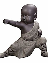 cheap -mini monk ornaments kung fu buddha statue tea pet zen garden tea tray figurine for kung fu tea tray car home desktop decoration (grey)