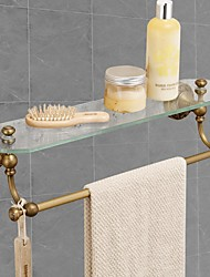 cheap -Multifunction Towel Rack with Glass Shelf for Bathroom Decor Wall Mounted Matte Brass 1pc