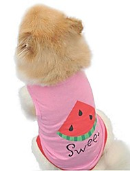 cheap -dog vest, summer pet clothes watermelon printed dog shirt doggy costume (pink, m)