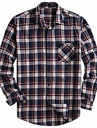 cheap -men's 100% cotton long sleeve plaid fleece shirt button up flannel shirt (dtf08, l)