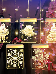 cheap -LED Christmas Light 3D Bell Snow Hanging lamp String Romantic Room Decoration Acrylic Curtain Light USB Powered