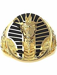 cheap -stainless steel egyptian pharaoh mens rings 18k gold plated egyptian eye of horus cross of life ankh and sphinx rings for men punk biker men's jewelry (gold, 10