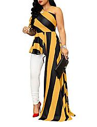 cheap -women ruffle high low asymmetrical one off shoulder tops blouse shirt dress