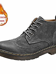 cheap -men's ankle boot winter faux fleece inside brogue british style high top leisure lace shoes teenager (color : warm gray, size : 6.5 m us)