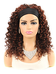 cheap -14-inch Mid-length Black Dark Brown Deep Curly Hair With Wig Headgear African Wig Hair With Wig Headgear