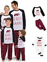 cheap -2 Piece Family Look Santa Claus Animal Letter Print Long Sleeve Regular Clothing Set Black