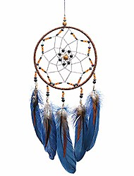 cheap -dream catcher handmade traditional feather dreamcatcher hanging home wall decoration craft ornament for home, bedroom, kids, boys native american style décor (star)