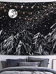 cheap -moon mountain tapestry wall hanging, black and white nature starry night sky stars tapestry with meteor and galaxy bedroom home wall decor 50×60 inches