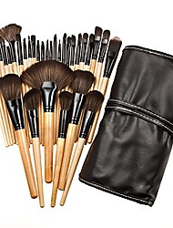 cheap -xiaoyu 32pcs mini professional cosmetic makeup brush set kit with synthetic leather case - black & wood