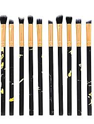 cheap -makeup brush set 10pcs professional makeup brushes premium synthetic foundation powder concealers eye shadows cosmetics set black