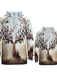 cheap -Daddy and Me Active Santa Claus Graphic 3D Print Animal Print Long Sleeve Regular Hoodie & Sweatshirt Khaki