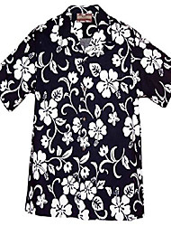 cheap -brand hibiscus pareo men's hawaiian shirt navy blue 4x