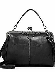 cheap -women retro hollow oil wax pu leather handbag kiss lock crossbody purse vintage messenger bag tote