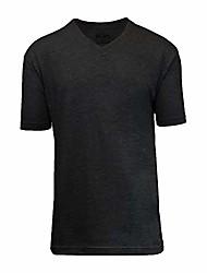 cheap -men solid basic plain short sleeve v-neck tees black