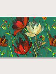 cheap -Oil Painting Hand Painted - Abstract Floral / Botanical Vintage Modern Rolled Canvas (No Frame)