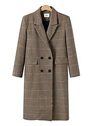 cheap -Women's Plaid Active Fall & Winter Coat Long Daily Long Sleeve Polyster Coat Tops Khaki