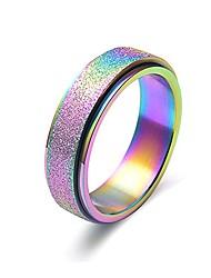 cheap -titanium steel sand blast spinner band rings for wedding engagement black, rose gold, rainbow