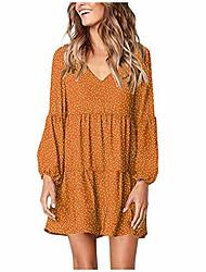 cheap -aihihe women long sleeve polka dot printed dress v neck spring summer casual ruffle flowy mini dresses sundress