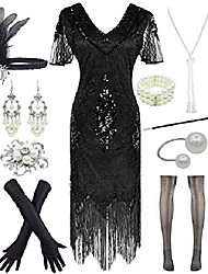 cheap -women 1920s gatsby vintage sequin flapper fringe party plus dress with 20s accessories set, style leaf black, medium