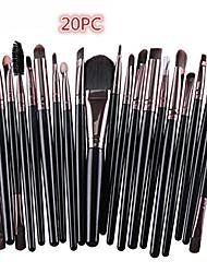 cheap -20 pcs makeup brush set tools make-up toiletry kit wool make up brush set premium foundation eyeshadow brushes (black)