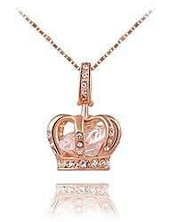 cheap -jewelry womens queen crown pendant necklace 18.5+2.16inch chain- 3 lays rose gold/platinum plated with austrain crystals