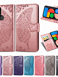 cheap -Case For Google Google Pixel 4a / Google Pixel 4 / Google Pixel 4 XL Card Holder / Shockproof / Flip Full Body Cases Flower PU Leather