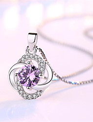 cheap -Women's White Synthetic Diamond Pendant Necklace Chain Necklace Flower Shape Clover Fashion Punk Trendy Casual / Sporty Copper Silver Plated White Purple 45 cm Necklace Jewelry 1pc For Anniversary