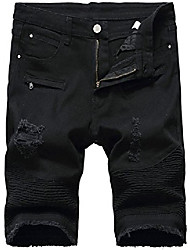 cheap -but& #39;s moto biker ripped slim fit denim jeans shorts, 3306 black, w32