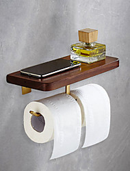 cheap -Durable Toilet Paper Holder with Shelf Black Walnut Wood and Brass Paper Towel Hook Wall Mounted for Mobile Phone Storage Dispenser Stand