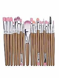 cheap -20 pieces makeup brush set professional face eye shadow eyeliner foundation blush lip makeup brushes powder liquid cream cosmetics blending brush tool (brown gold)