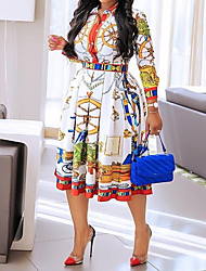 cheap -Women's A-Line Dress Knee Length Dress - Long Sleeve Print Print Fall Shirt Collar Casual Slim 2020 White M L XL XXL 3XL 4XL