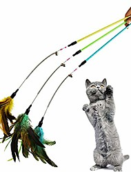 """cheap -3-pack cat feather toy with beads and bells and 23"""" long wand with spring and crystal handle (pattern a)"""