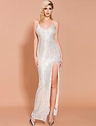 cheap -Sheath / Column Sexy Sparkle Prom Formal Evening Dress Spaghetti Strap Sleeveless Floor Length Spandex Sequined with Split 2020