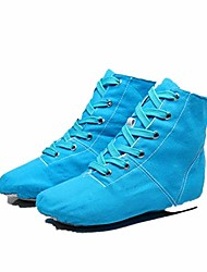 cheap -blue canvas sports dancing sneakers jazz dance shoes lace-up soft sole high-top men women children