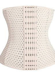 cheap -breathable plus size compression waist trainer tummy girdle for weight loss, beige-6 row hooks, large