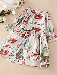 cheap -Kids Little Girls' Dress White Christmas Print White Knee-length Long Sleeve Basic Cute Dresses Christmas Loose